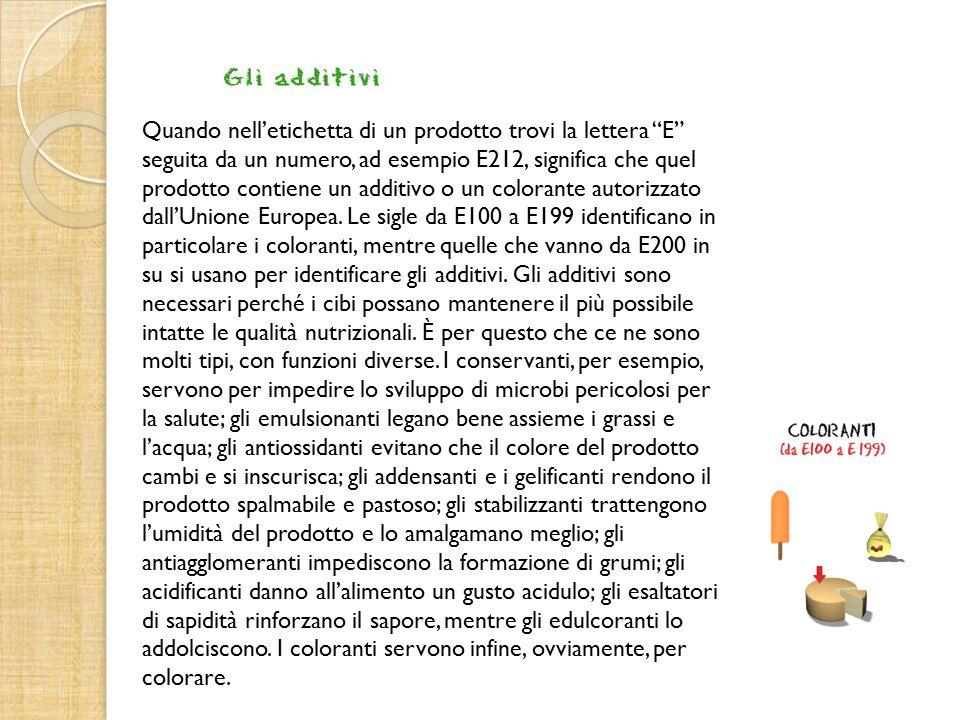 Quando nell'etichetta di un prodotto trovi la lettera E seguita da un numero, ad esempio E212, significa che quel prodotto contiene un additivo o un colorante autorizzato dall'Unione Europea.