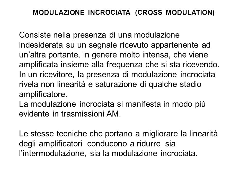 MODULAZIONE INCROCIATA (CROSS MODULATION)