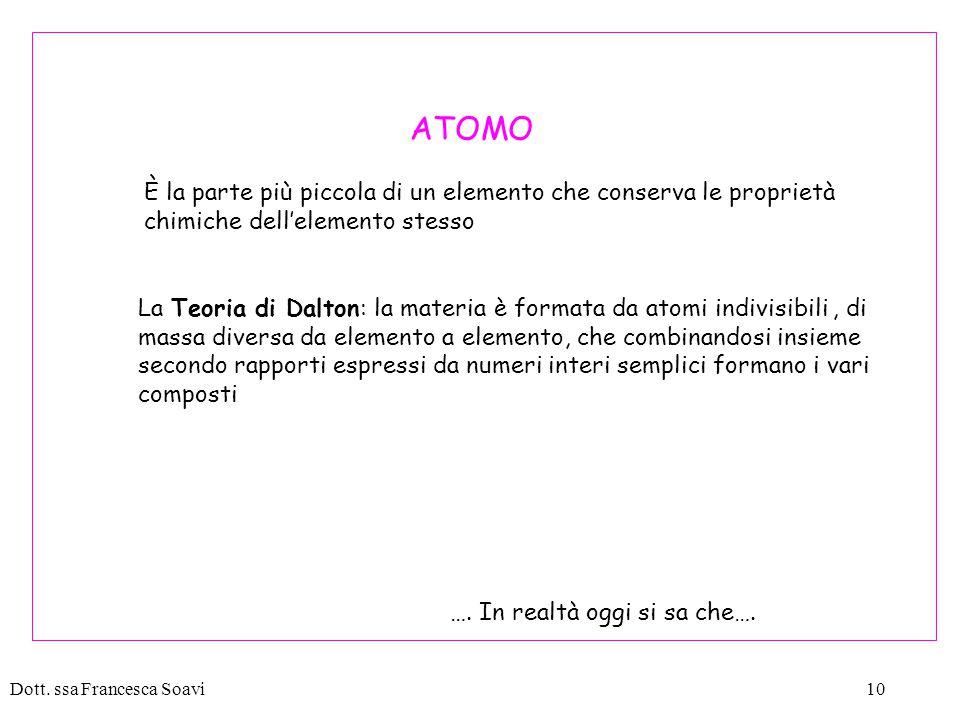 ATOMO È la parte più piccola di un elemento che conserva le proprietà chimiche dell'elemento stesso.