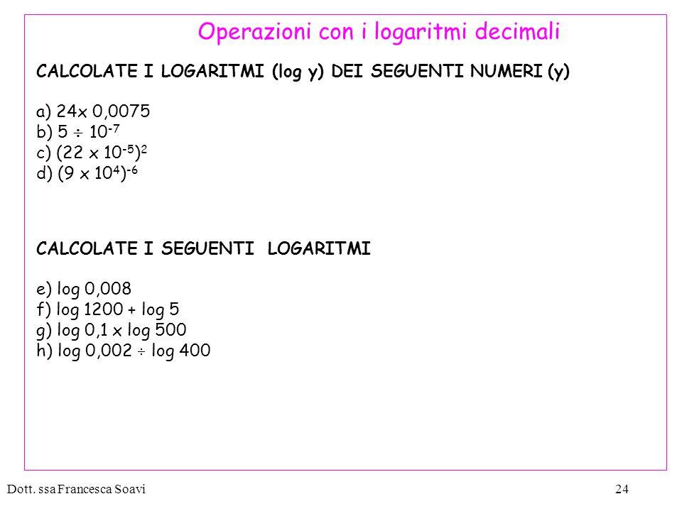 Operazioni con i logaritmi decimali