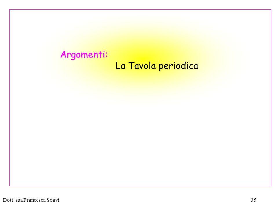 Argomenti: La Tavola periodica Dott. ssa Francesca Soavi