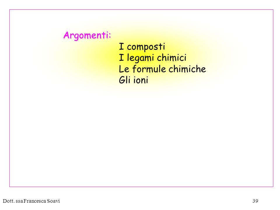 Argomenti: I composti I legami chimici Le formule chimiche Gli ioni