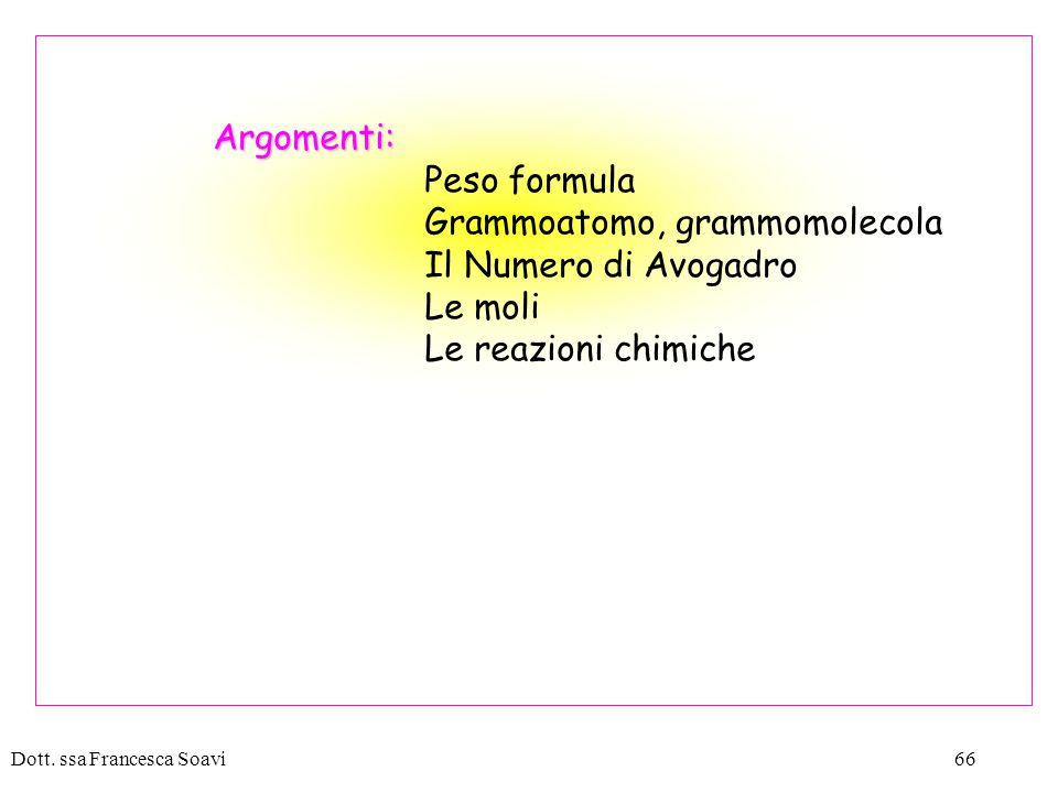 Grammoatomo, grammomolecola Il Numero di Avogadro Le moli