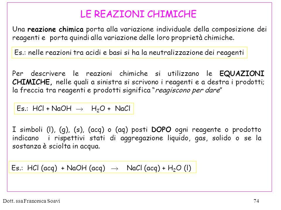 Es.: HCl (acq) + NaOH (acq)  NaCl (acq) + H2O (l)