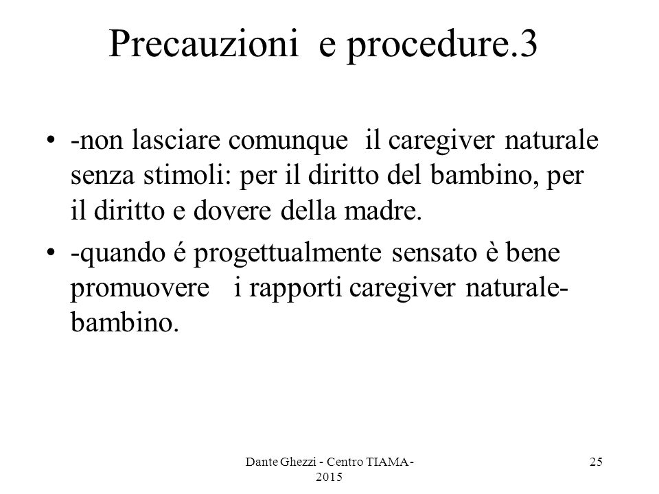 Precauzioni e procedure.3