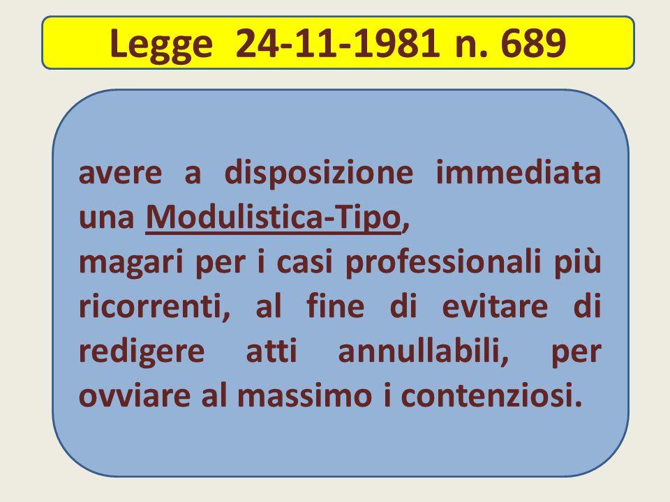 Legge 24-11-1981 n. 689 avere a disposizione immediata una Modulistica-Tipo,