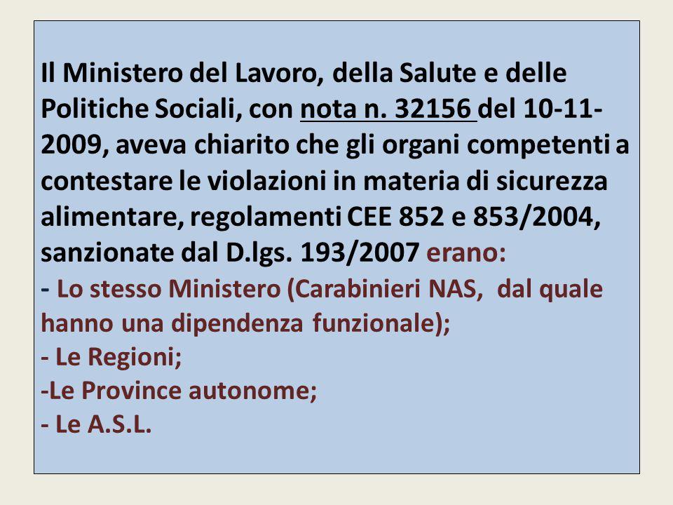 Il Ministero del Lavoro, della Salute e delle Politiche Sociali, con nota n.