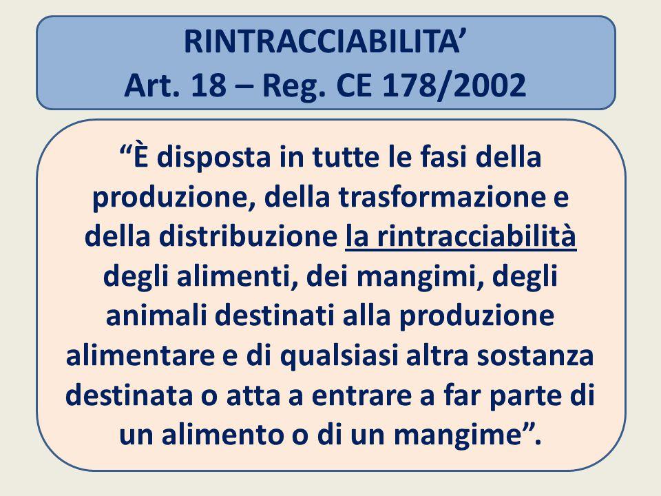 RINTRACCIABILITA' Art. 18 – Reg. CE 178/2002