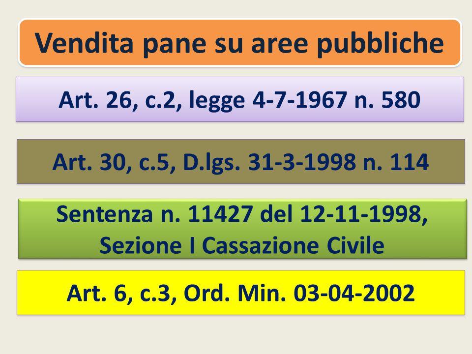 Vendita pane su aree pubbliche Sezione I Cassazione Civile