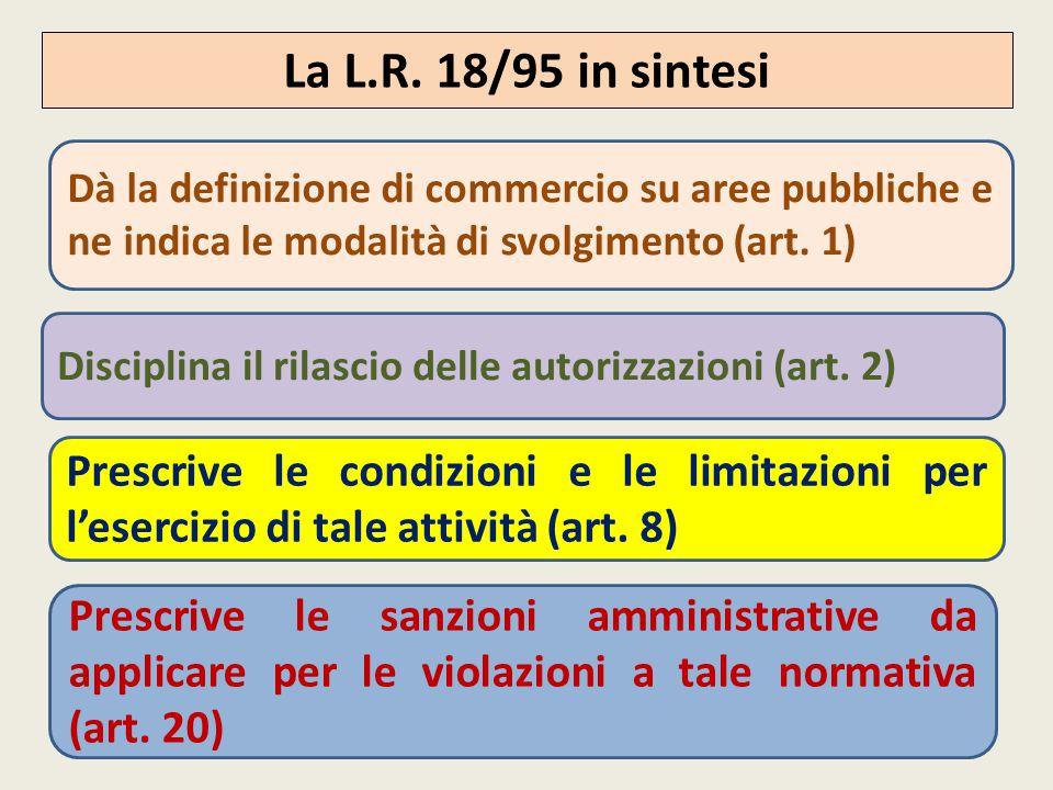 La L.R. 18/95 in sintesi Dà la definizione di commercio su aree pubbliche e ne indica le modalità di svolgimento (art. 1)