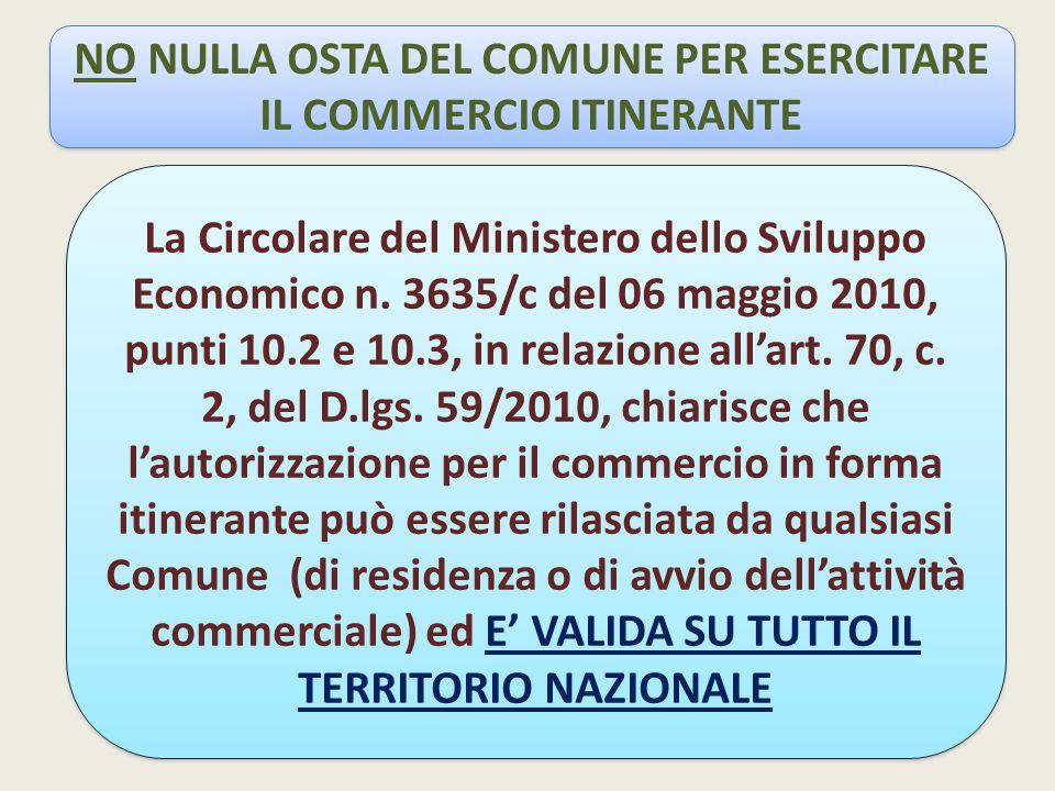 NO NULLA OSTA DEL COMUNE PER ESERCITARE IL COMMERCIO ITINERANTE