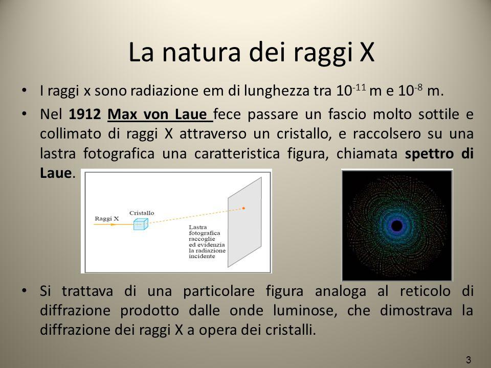 La natura dei raggi X I raggi x sono radiazione em di lunghezza tra 10-11 m e 10-8 m.