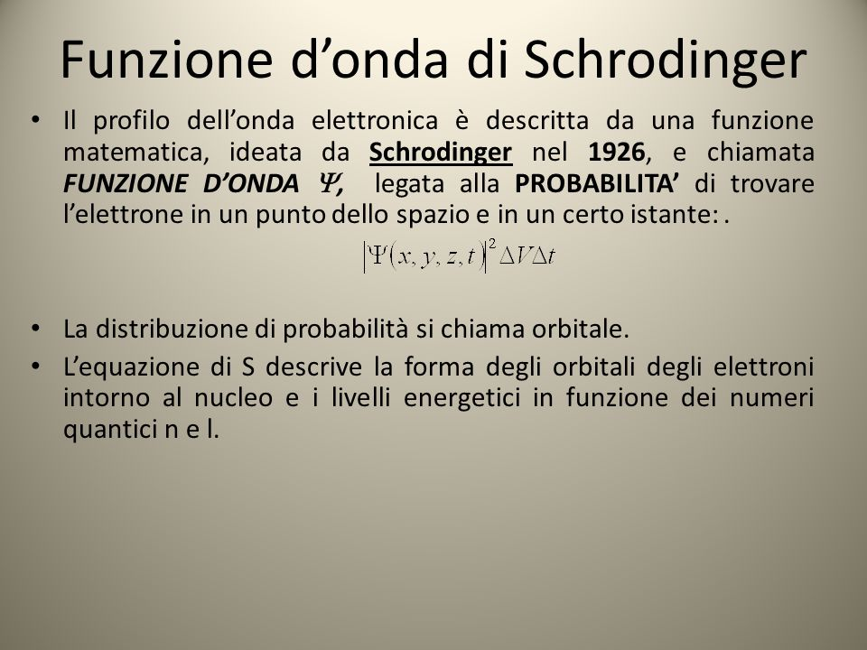 Funzione d'onda di Schrodinger