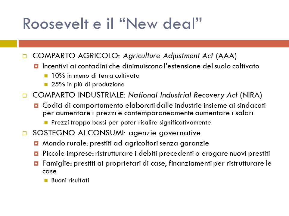 Roosevelt e il New deal