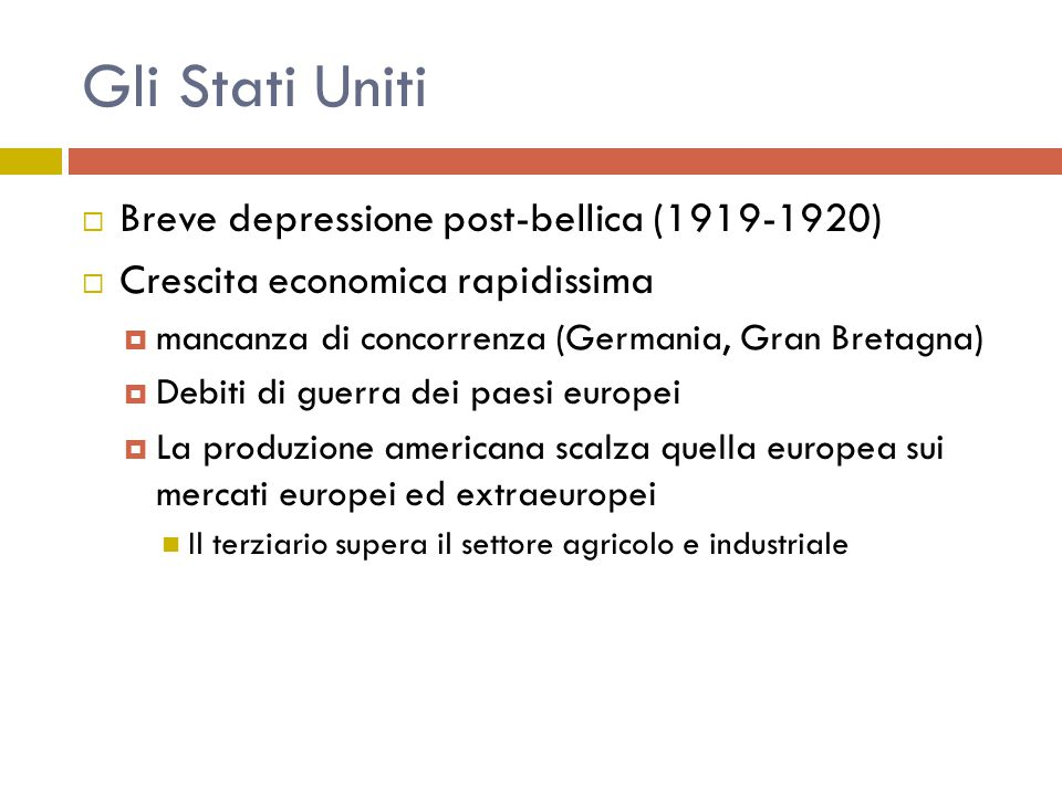 Gli Stati Uniti Breve depressione post-bellica (1919-1920)