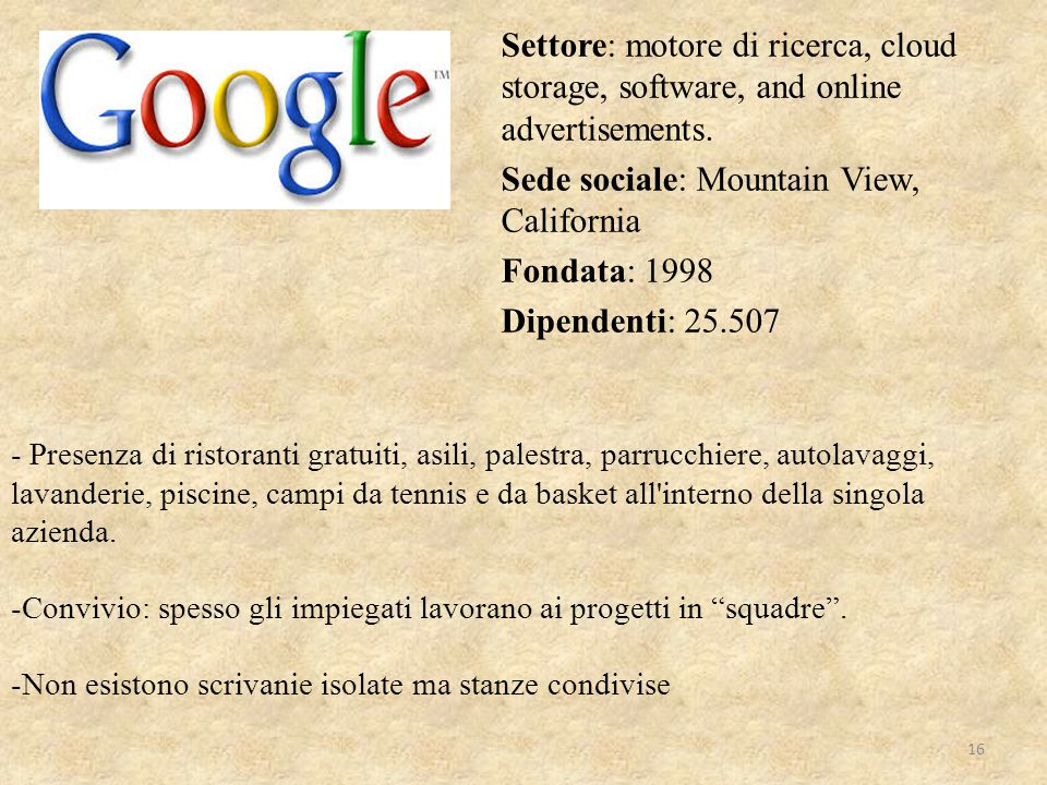 Settore: motore di ricerca, cloud storage, software, and online advertisements. Sede sociale: Mountain View, California Fondata: 1998 Dipendenti: 25.507