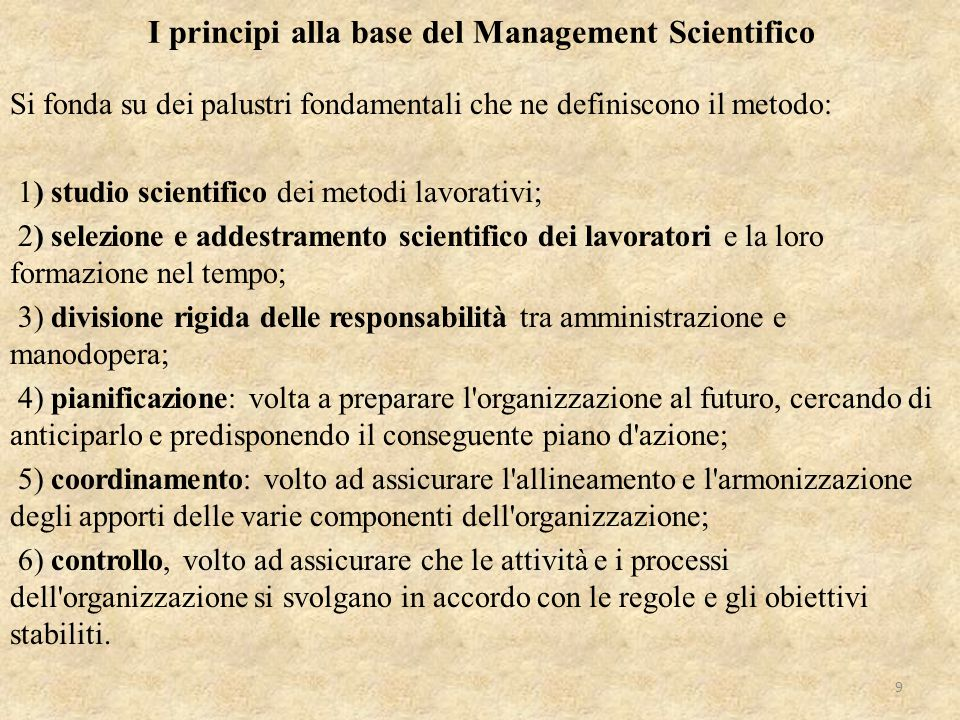 I principi alla base del Management Scientifico