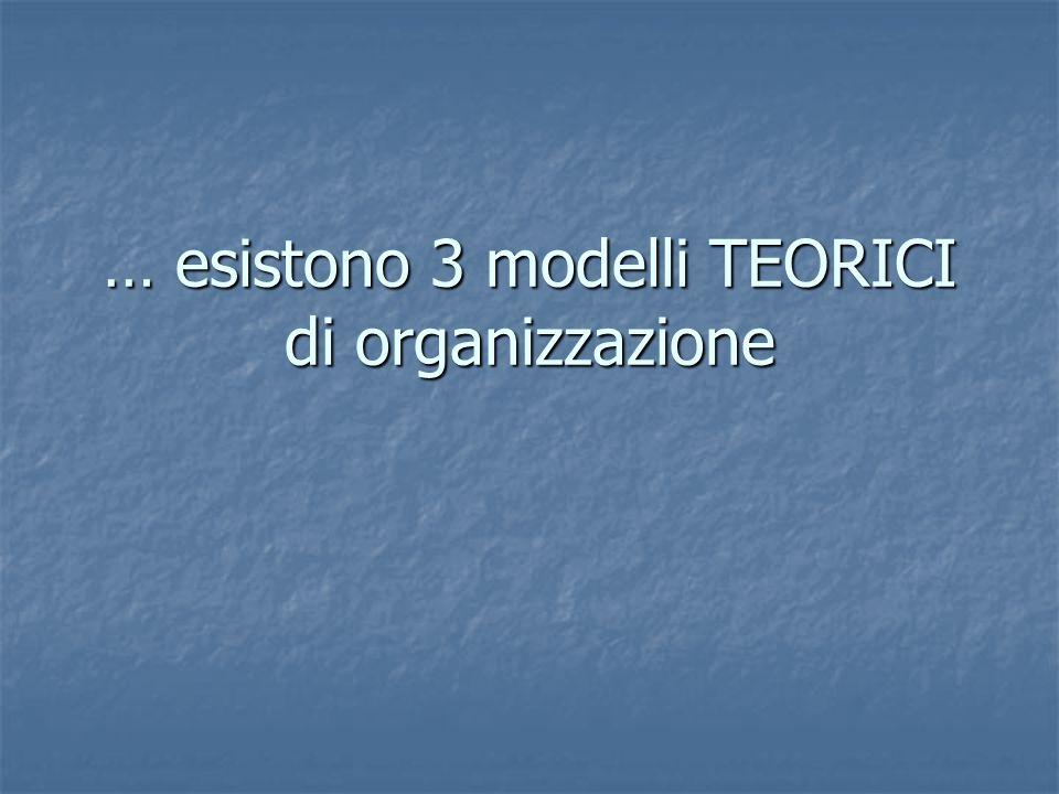 … esistono 3 modelli TEORICI di organizzazione
