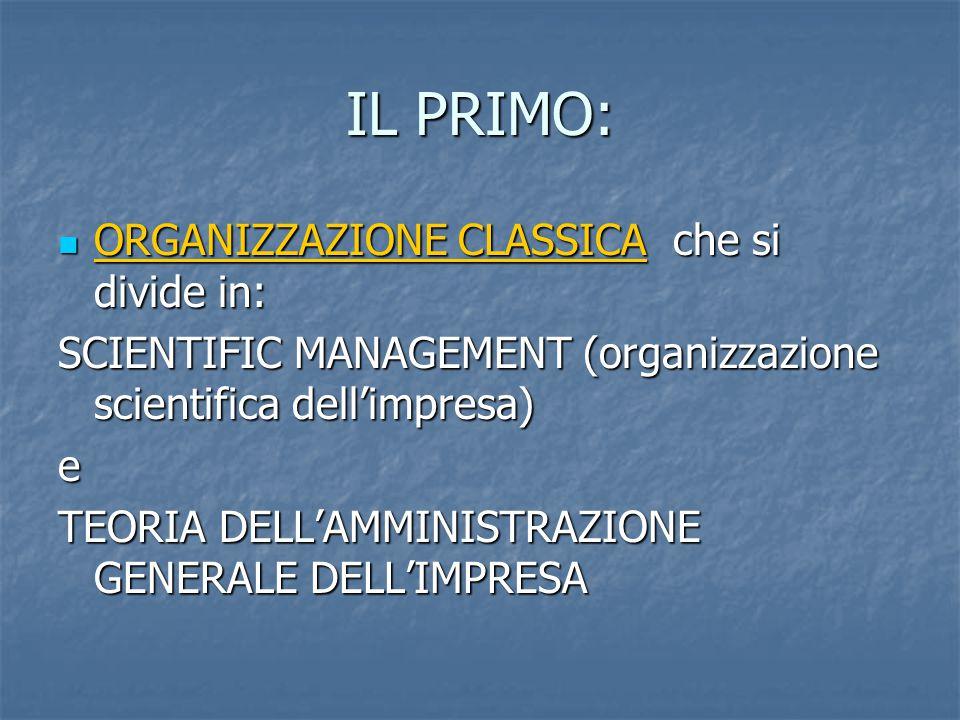 IL PRIMO: ORGANIZZAZIONE CLASSICA che si divide in:
