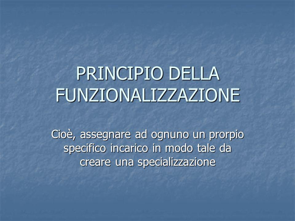PRINCIPIO DELLA FUNZIONALIZZAZIONE