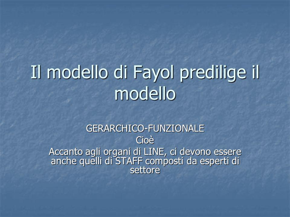 Il modello di Fayol predilige il modello