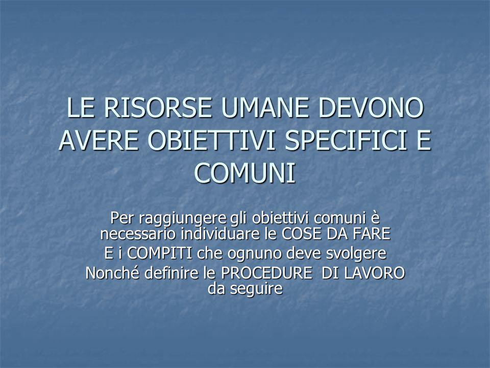 LE RISORSE UMANE DEVONO AVERE OBIETTIVI SPECIFICI E COMUNI