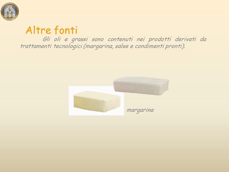Altre fonti Gli oli e grassi sono contenuti nei prodotti derivati da trattamenti tecnologici (margarina, salse e condimenti pronti).