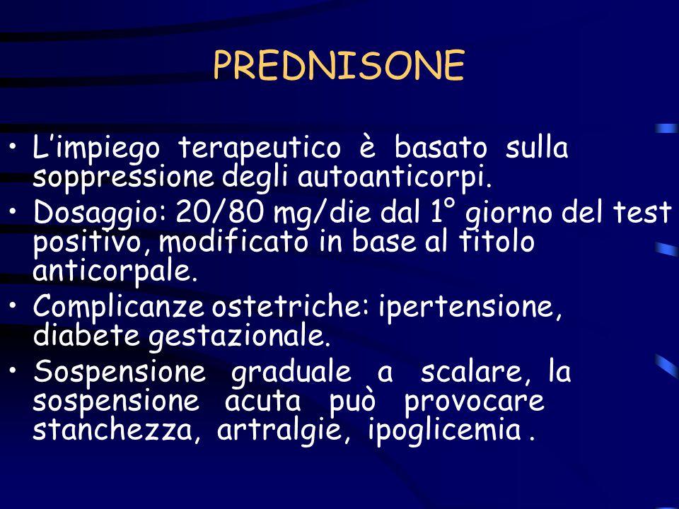 PREDNISONE L'impiego terapeutico è basato sulla soppressione degli autoanticorpi.