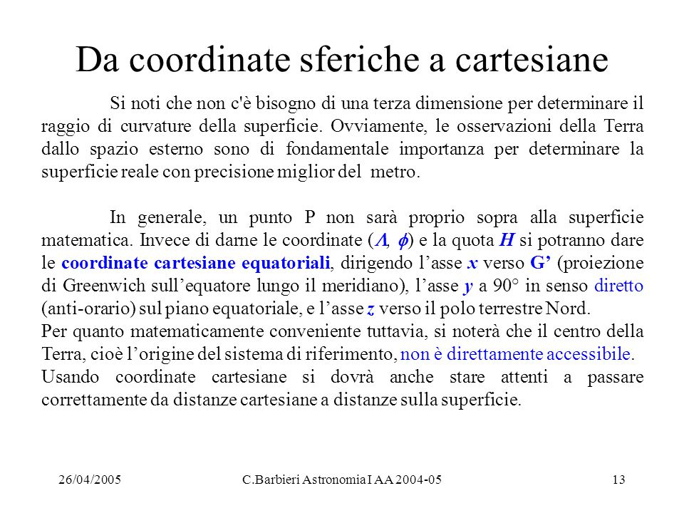 Da coordinate sferiche a cartesiane