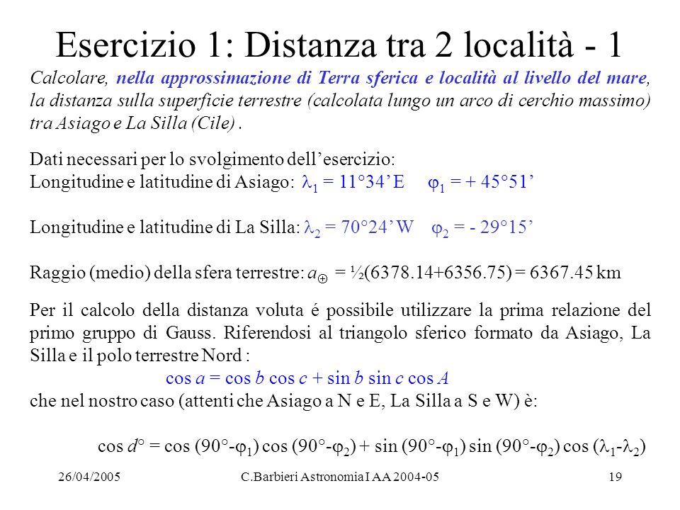 Esercizio 1: Distanza tra 2 località - 1