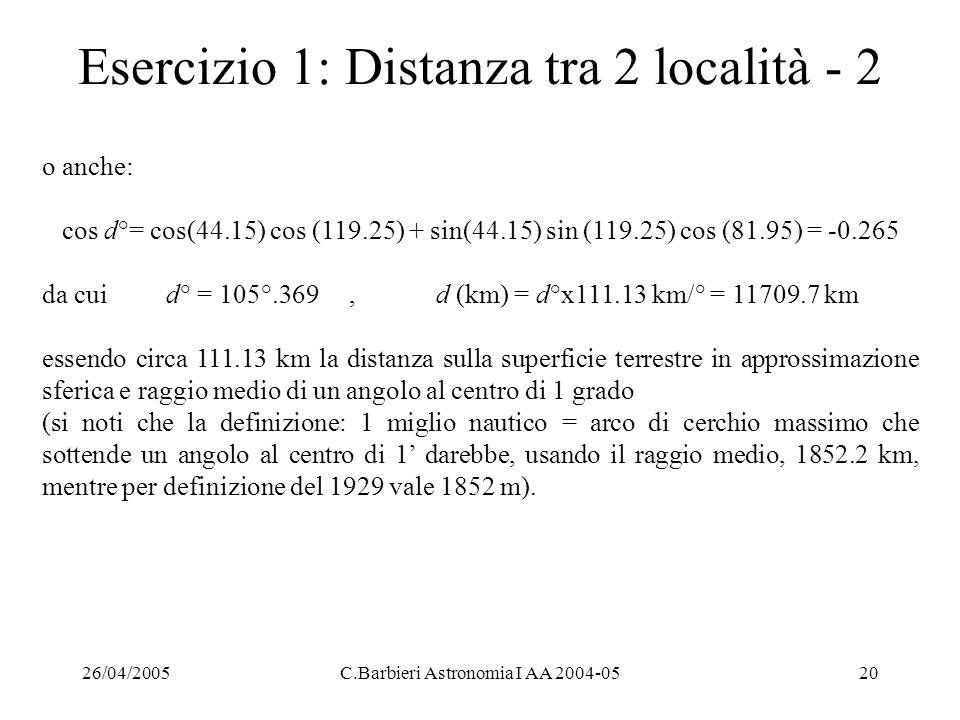 Esercizio 1: Distanza tra 2 località - 2