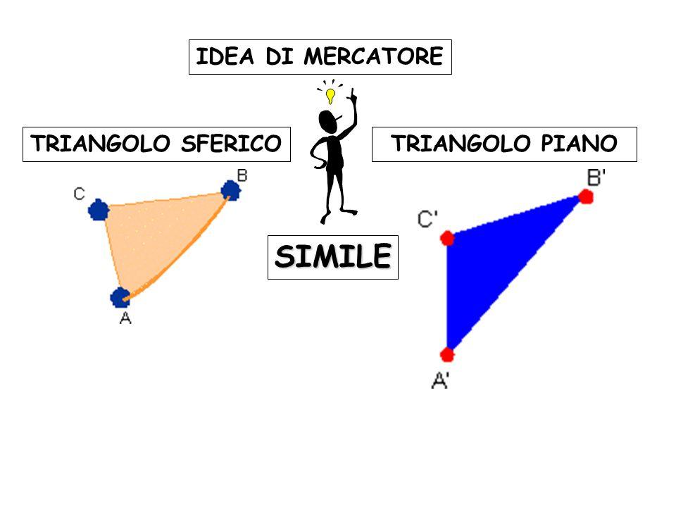 IDEA DI MERCATORE TRIANGOLO SFERICO TRIANGOLO PIANO SIMILE