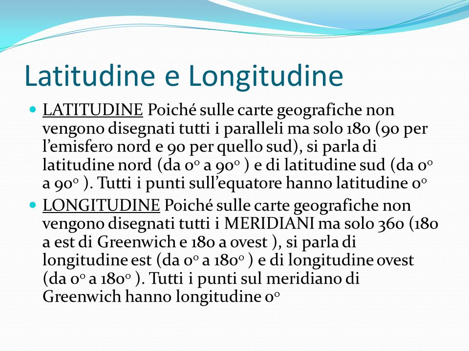 Latitudine e Longitudine