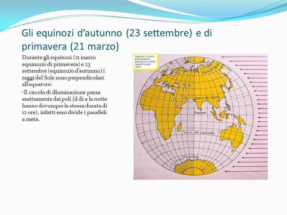 Gli equinozi d'autunno (23 settembre) e di primavera (21 marzo)