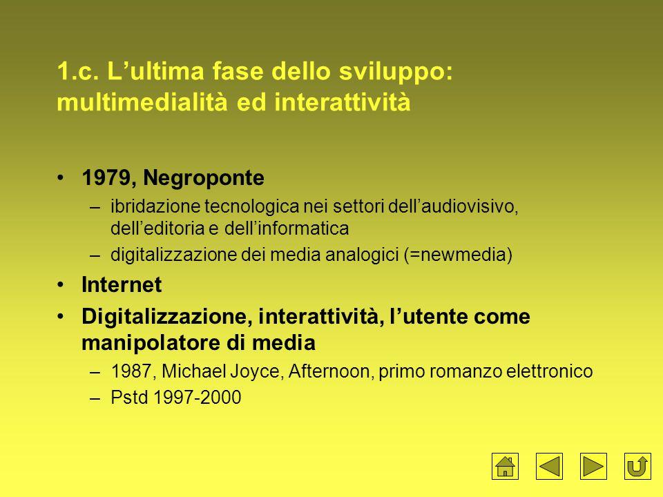 1.c. L'ultima fase dello sviluppo: multimedialità ed interattività