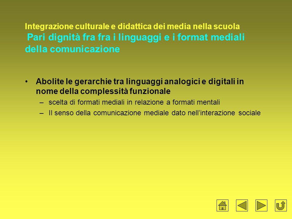 Integrazione culturale e didattica dei media nella scuola Pari dignità fra fra i linguaggi e i format mediali della comunicazione