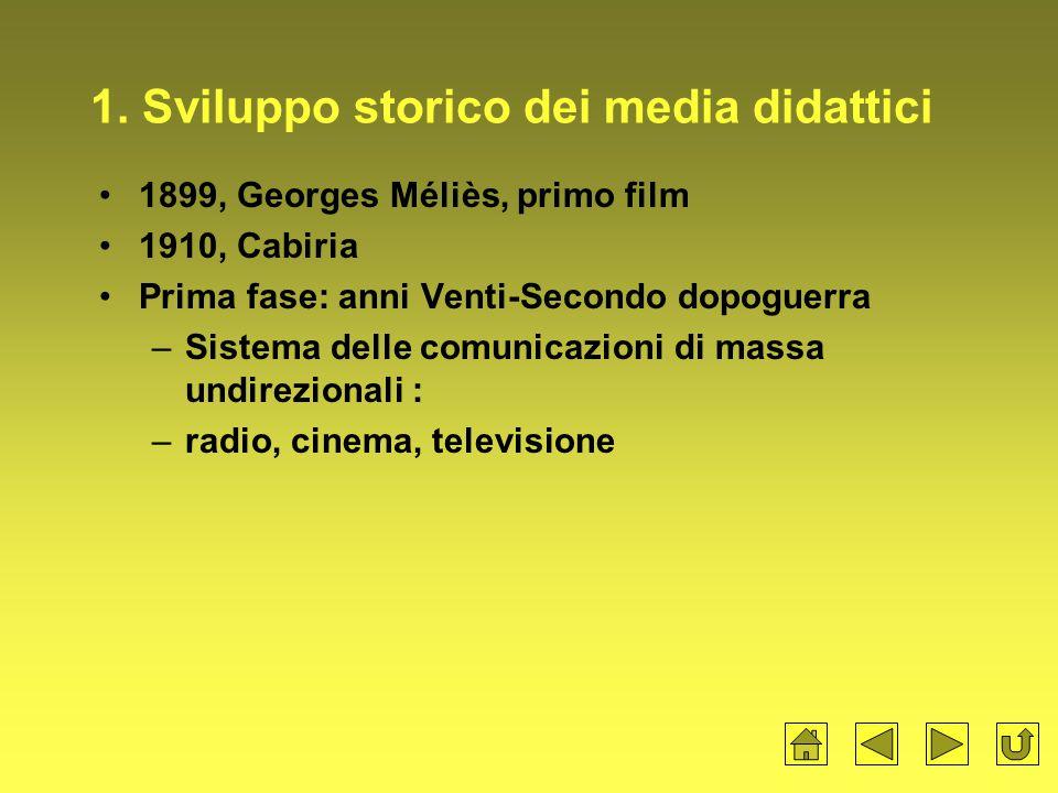 1. Sviluppo storico dei media didattici
