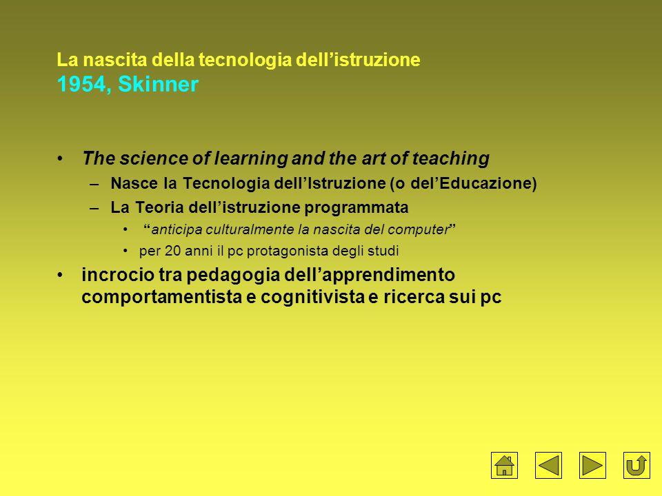 La nascita della tecnologia dell'istruzione 1954, Skinner