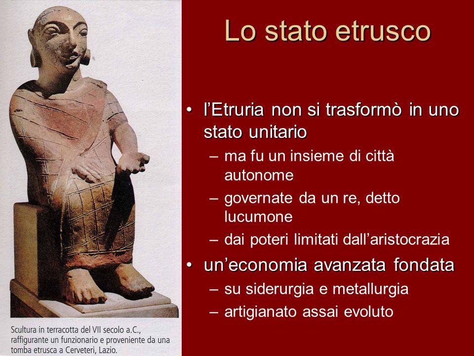 Lo stato etrusco l'Etruria non si trasformò in uno stato unitario