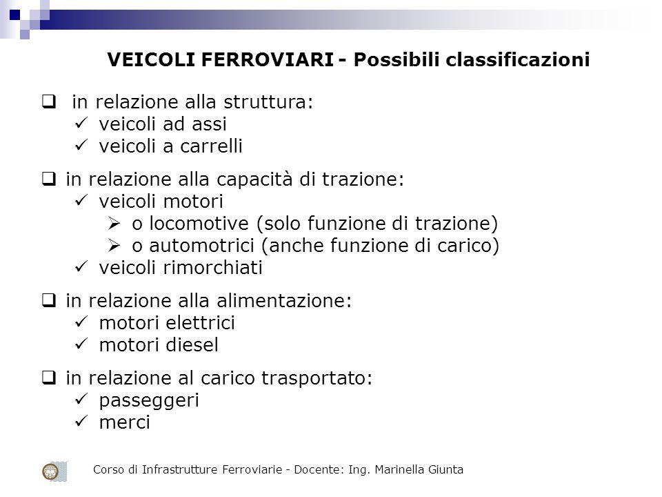 in relazione alla struttura: veicoli ad assi veicoli a carrelli