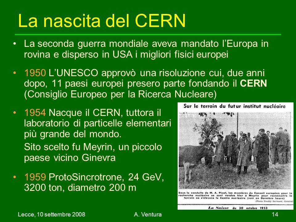 La nascita del CERN La seconda guerra mondiale aveva mandato l'Europa in rovina e disperso in USA i migliori fisici europei.