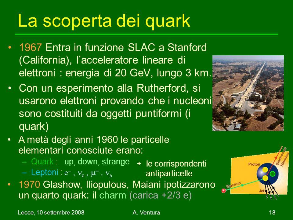 La scoperta dei quark 1967 Entra in funzione SLAC a Stanford (California), l'acceleratore lineare di elettroni : energia di 20 GeV, lungo 3 km.