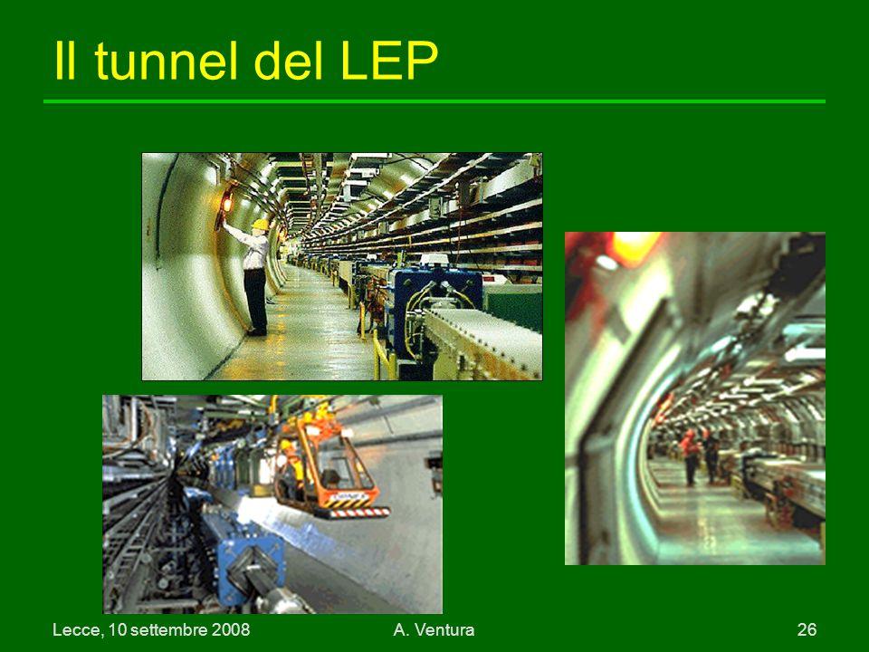 Il tunnel del LEP Lecce, 10 settembre 2008 A. Ventura