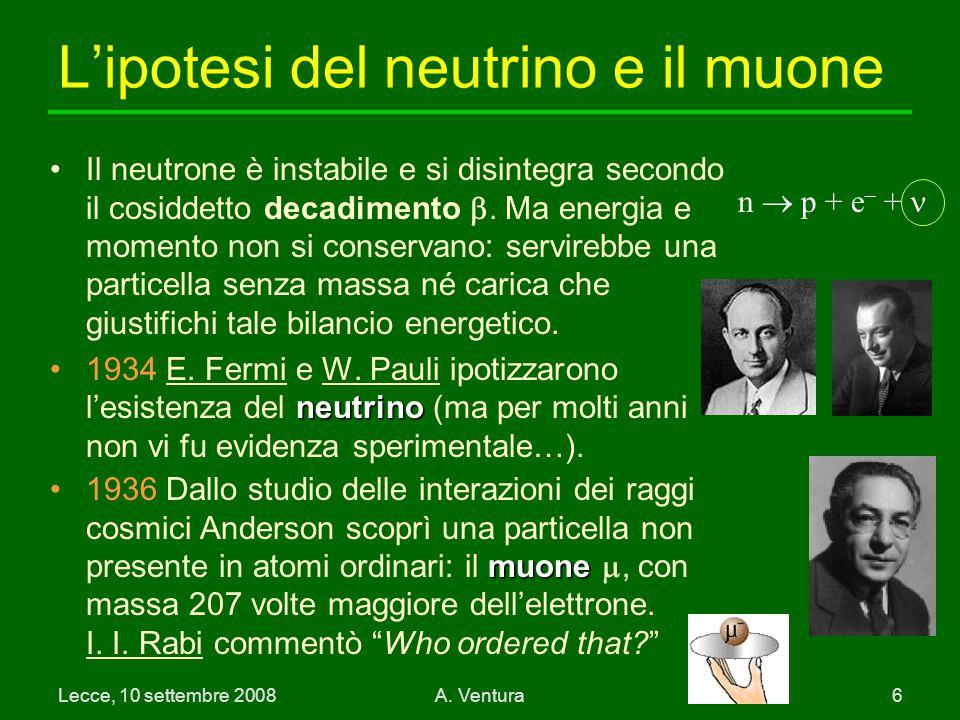 L'ipotesi del neutrino e il muone