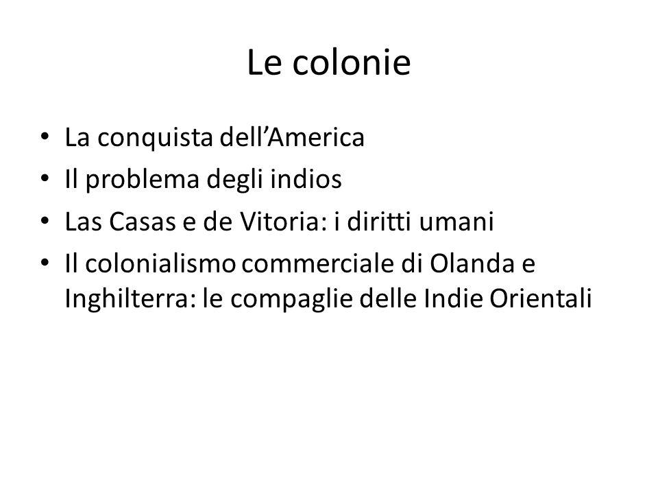 Le colonie La conquista dell'America Il problema degli indios