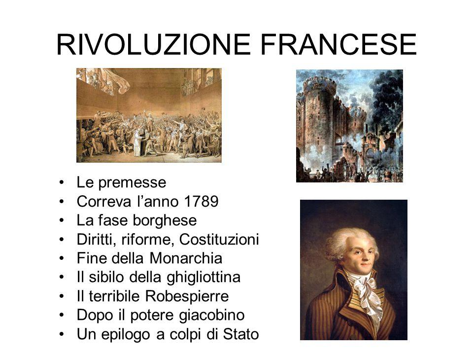 RIVOLUZIONE FRANCESE Le premesse Correva l'anno 1789 La fase borghese