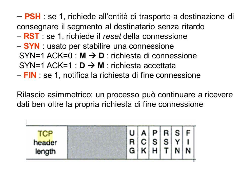 – PSH : se 1, richiede all'entità di trasporto a destinazione di consegnare il segmento al destinatario senza ritardo