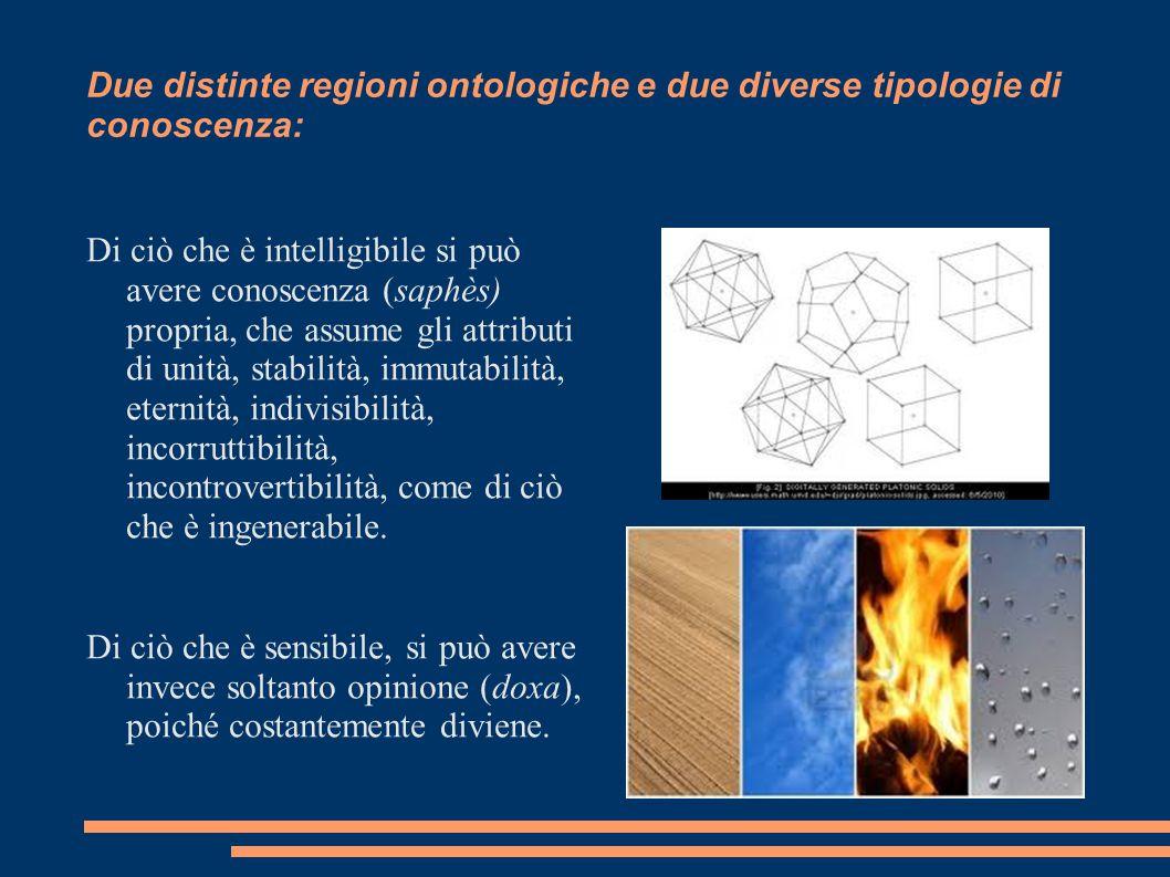 Due distinte regioni ontologiche e due diverse tipologie di conoscenza: