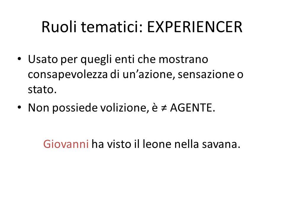 Ruoli tematici: EXPERIENCER