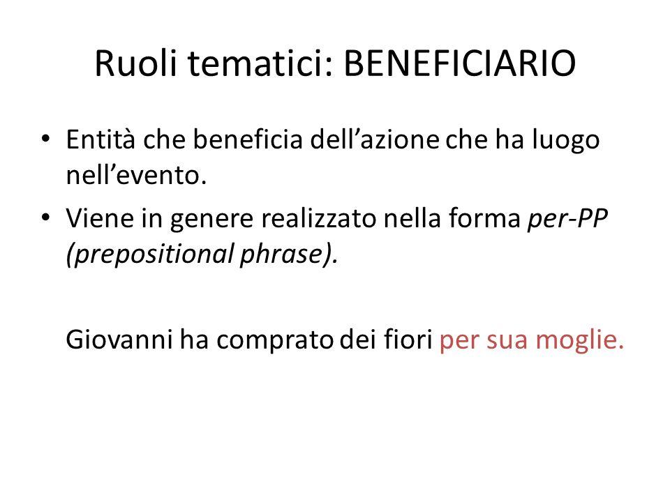 Ruoli tematici: BENEFICIARIO